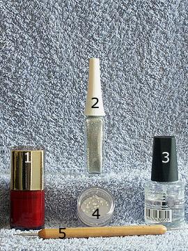 Products for the beauty nail art for fingernails - Nail polish, Nail art liner, Strass stones, Spot-Swirl, Clear nail polish