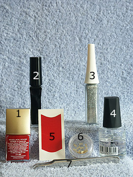Products for the motif with French manicure templates for nails - Inlay motifs, French manicure templates, Nail polish, Nail art liner, Clear nail polish