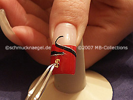 clear nail lacquer, tweezers and motif in the form of the dollar symbol