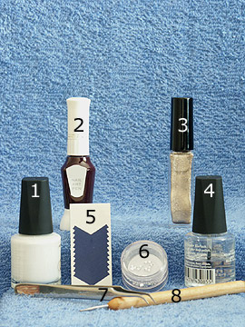 Products for the French motif for the fingernails - French manicure templates, Nail polish, Nail art liner, Nail art pen, Strass stones, Spot-Swirl, Clear nail polish