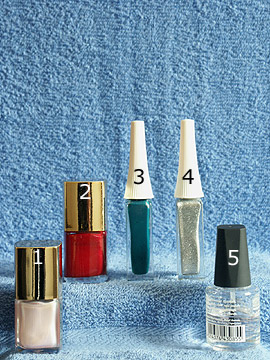 Products for the motif with fir tree as nail decoration - Nail polish, Nail art liner, Clear nail polish