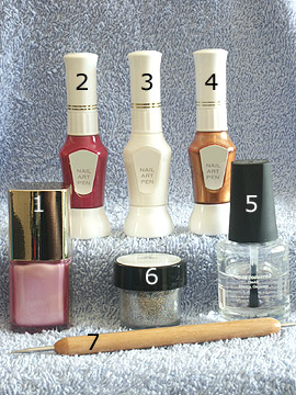 Products for the full cover in pink - Nail polish, Nail art pen, Spot-Swirl, Glitter-Powder, Clear nail polish