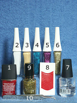 Products for the nail art for the New Year´s Eve - Nail polish, Nail art liner, French manicure templates, Clear nail polish