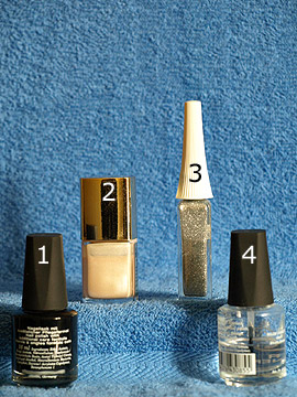 Products for the New Year´s Eve design for nails - Nail polish, Nail art liner, Clear nail polish