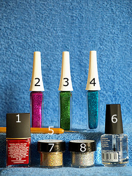 Products for the fireworks as nail art motif - Nail polish, Nail art liner, Spot-Swirl, Clear nail polish, Glitter-Powder