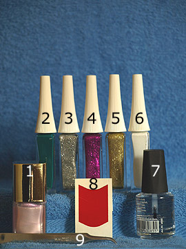 Products for the branch of fir as Christmas motif - Nail polish, Nail art liner, Clear nail polish, French manicure templates