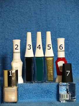 Products for the Christmas candy cane as nail art design - Nail polish, Nail art pen, Nail art liner, Clear nail polish